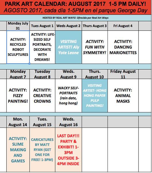 August Park Art Calendar