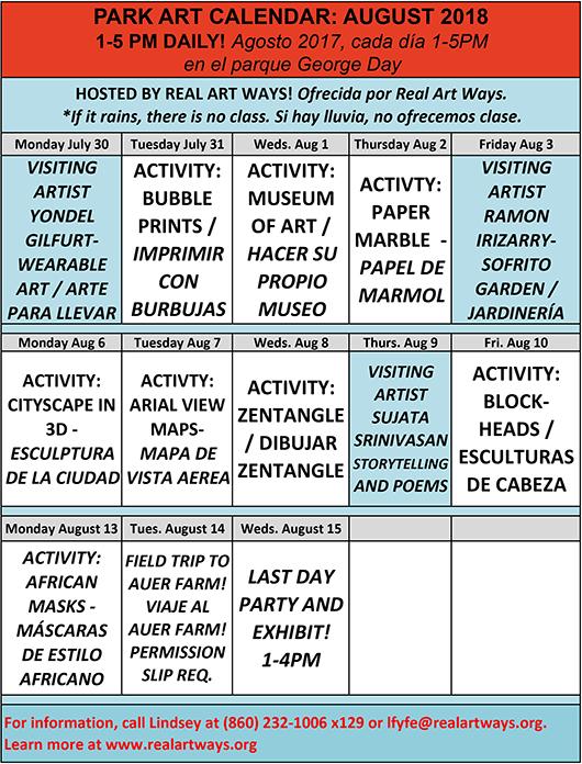 Park Art August 2018 Schedule