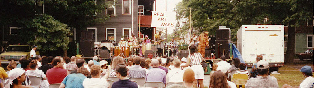 Historic photo of an early outdoor live concert at Real Art Ways