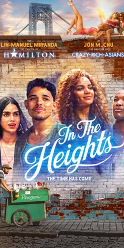 Poster for In the Heights film with main characters portraits painted onto a brick wall