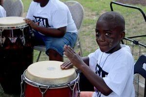 boy playing drum