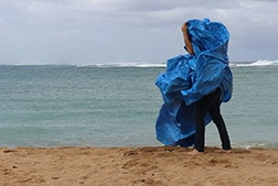 A standing figure on a beach is obscured by a blue tarp with the ocean in the background
