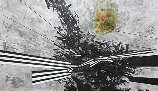 A mixed media painting. A grey background with a yellow orb on the upper right-hand side.  Moving vertically down the image are bat-like shapes meeting in the middle. Moving across the middle of the image horizontally are black and white stripes.