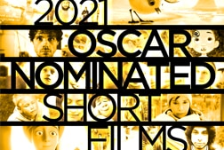 A golden collage of film stills with black text 2021 Oscar Nominated Short Films
