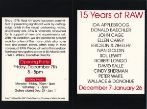 RAW at 15 exhibition postcard, featuring Ida Appleboorg's name.