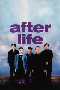 "A group of people standing in front of a partly cloudy sky. Purple text above them ""After Life""."