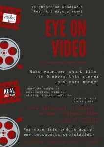 Poster for Eye on Video Filmmaking Program at Real Art Ways
