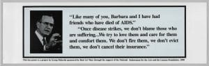 """Poster from Group Material """"AIDS Bus Poster"""" project. Image of George Bush and a quote about AIDS."""