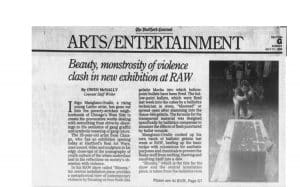 Newspaper article about Inigo Manglano-Ovalle's work at RAW.