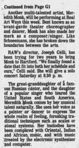 text of Hartford Courant article on Meredith Monk.