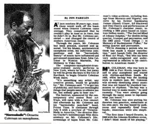 NY Times article about Ornette Coleman at Real Art Ways