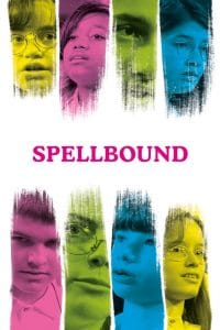 Swaths of yellow, pink, green and blue. Each swath of color has a child's image inside it. Pink text 'SpellBound""