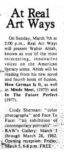 Article text announcing Abish's readings at Real Art Ways