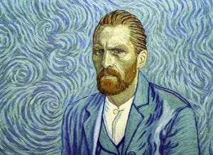 Vincent Van Gogh rendered in painting through his signature swirled brush marks.