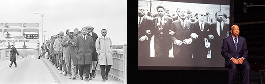Side by side photos of a young John Lewis marching to Selma, and John Lewis today looking at images from the March.