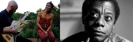 Two photos side by side. Two musicians outside next to a portrait of James Baldwin.