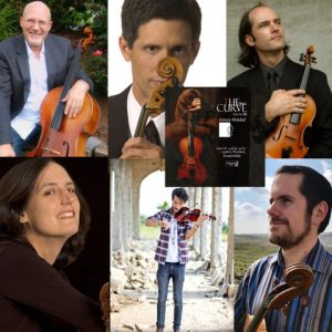 Grid of portraits of various musicians with their instruments.