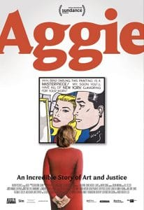 Aggie poster. Woman in a red dress looking at a painting