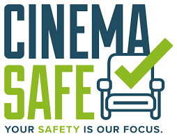 Cinema safe logo which has a theatre chair with a green check mark