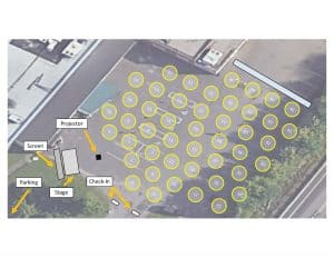 Map of outdoor movie event parking and set up