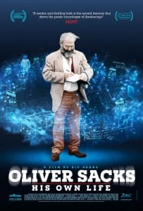 Oliver Sacks surrounded by blue particles
