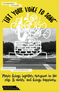 A black, yellow, and white poster with a proposed monument from the 2017 Paper Monuments project.
