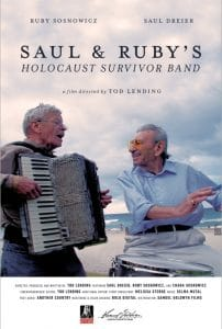 Saul & Ruby Holocaust Survivors Band poster, two men outside one is playing the accordion