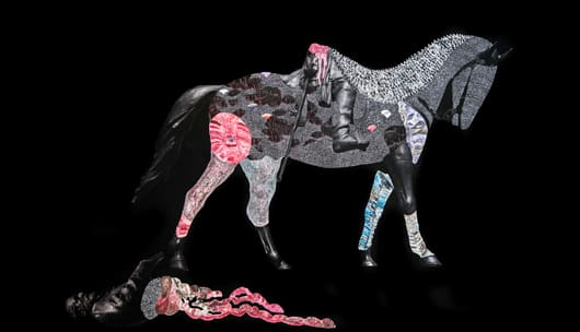 Multimedia work of Robert E. Lee fallen off a horse, detailed with pattern and texture. By Nate Lewis