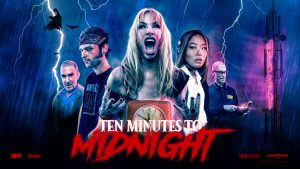 """Ten Minutes To Midnight"" poster. People outside in a lightning storm."