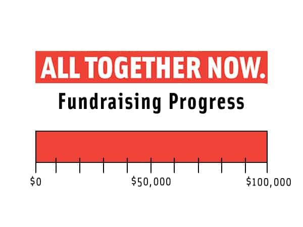 fundraising progress thermometer showing we met out goal of 100,000