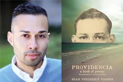 "Sean Frederick Forbes portrait next to his book ""Providencia"""