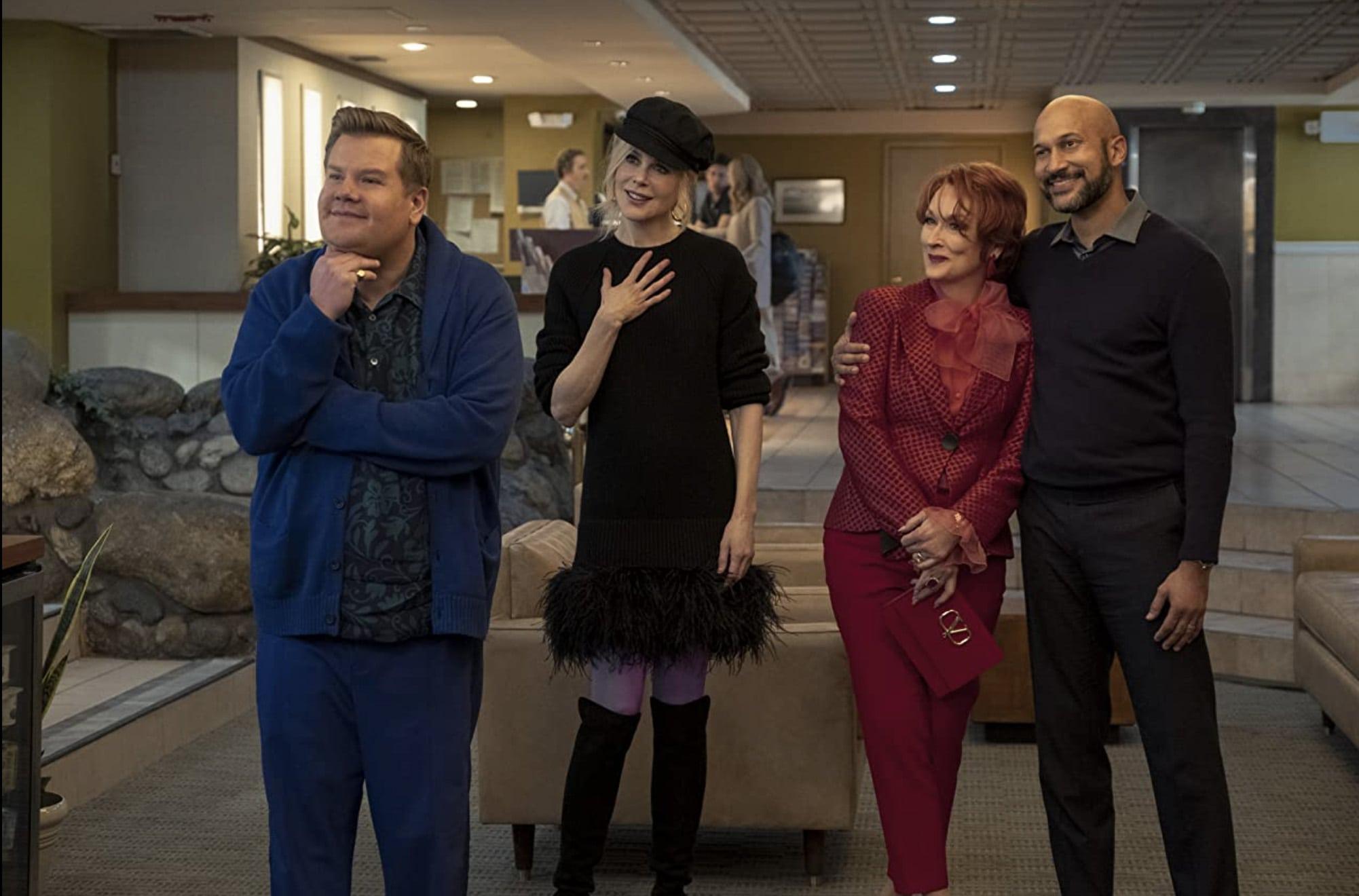 James Corden, Nicole Kidman, Meryl Streep, and Keegan-Michael Key in The Prom