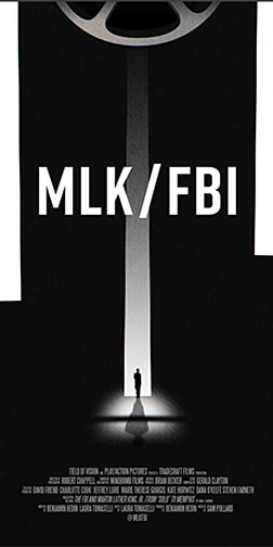 MLK/FBI poster with a silhouetted man in a doorway above a film reel