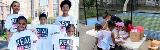 Two images side by side - Siblings smiling with Part Art 2020 t-shirts and children picking up their Park Art kits from two Real Apprentices