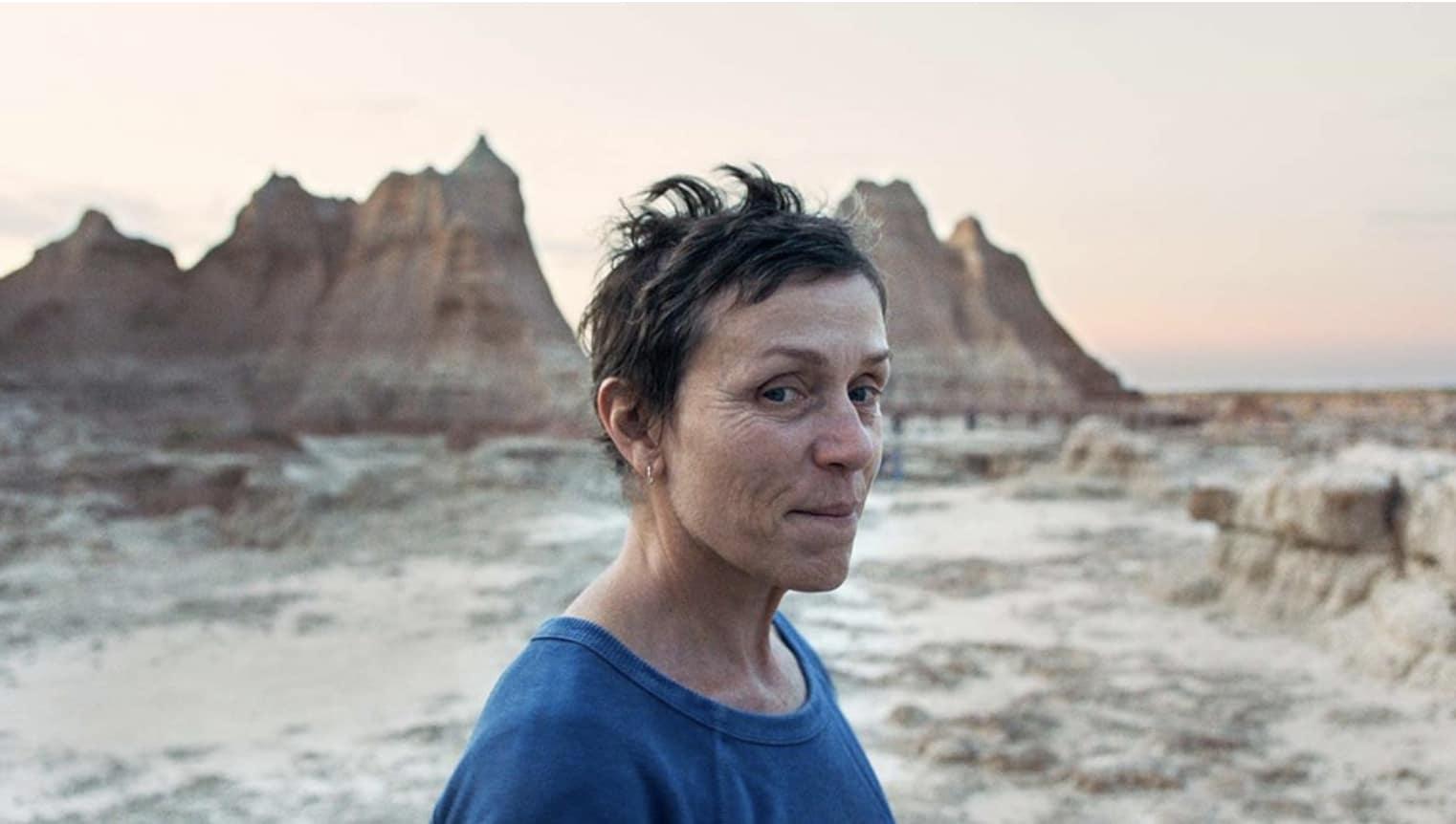 Frances McDormand in the Badlands in the film Nomadland