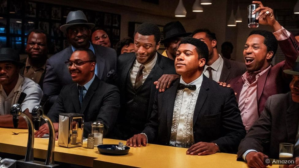 """Movie portrayals of Malcom X, Sam Cooke, Jim Brown, and Muhammad Ali together in a bar in """"One Night in Miami"""""""