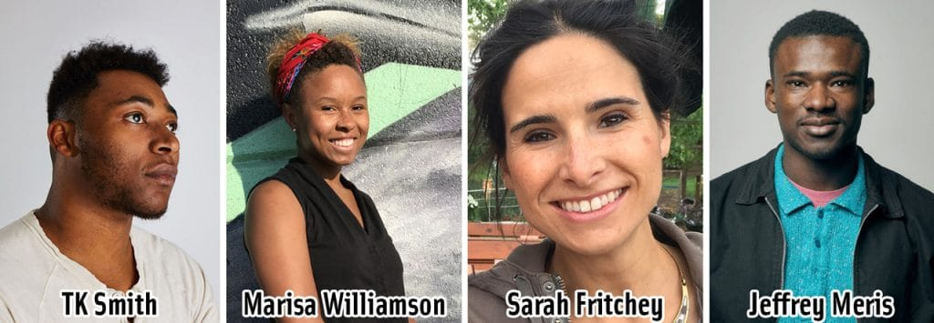 Portraits of four people; a dark skinned male, a dark skinned female, a light skinned female, and a dark skinned male
