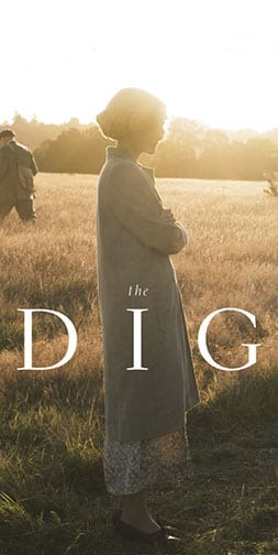 "A woman in a sunlit field, text ""The Dig"""