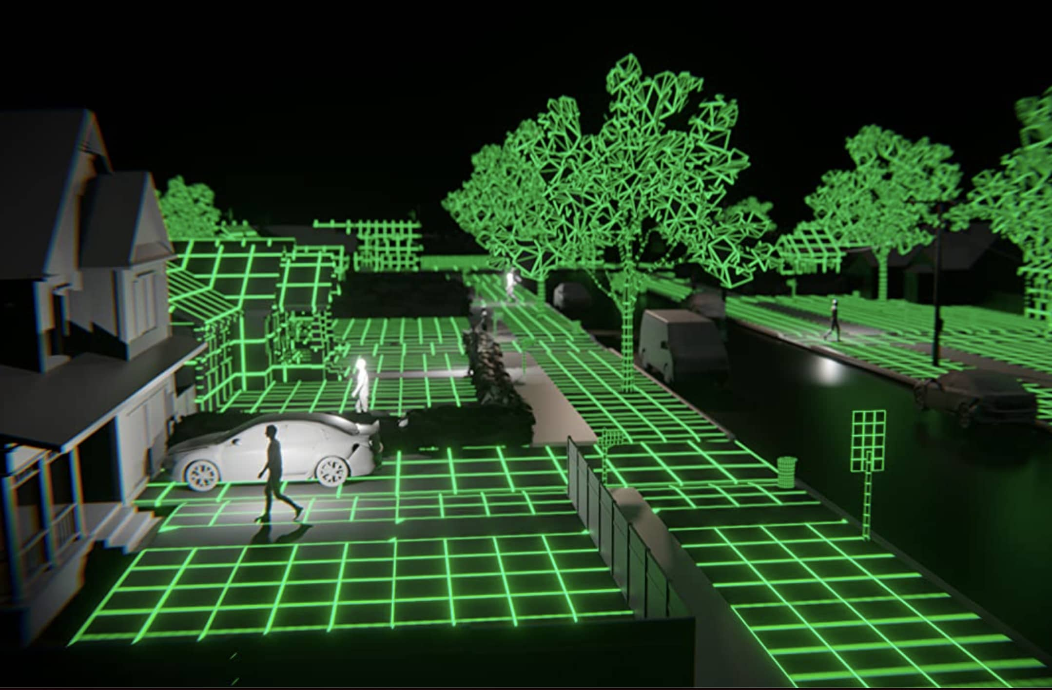 """From """"A Glitch in the Matrix"""" a green graphed computer simulation of a neighborhood"""