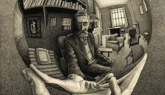 Self portrait drawing of MC Escher his image is reflected in a round mirrored sphere