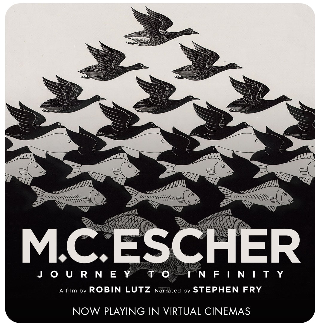 M.C. Escher film poster showing a bird pattern slowly turning into a fish pattern