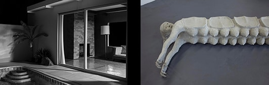 Two images side by side Robins black and white architectural photograph and Catalina's figurative and sculptural bench