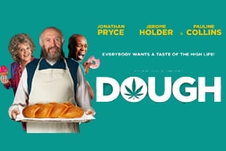 Poster for Dough with 3 people holding baked goods and the text dough in white on a turquoise background